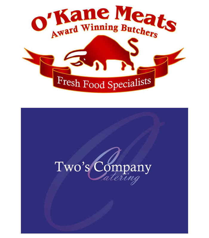 logo design | logo design derry | branding | o'kane meats logo | twos company catering logo