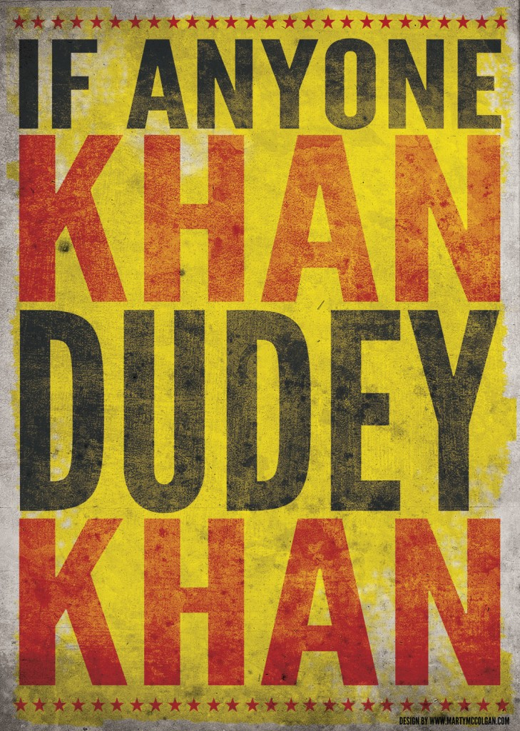 DUDEY v KHAN | paul mccloskey v amir khan poster | poster design | marty mccolgan | derry