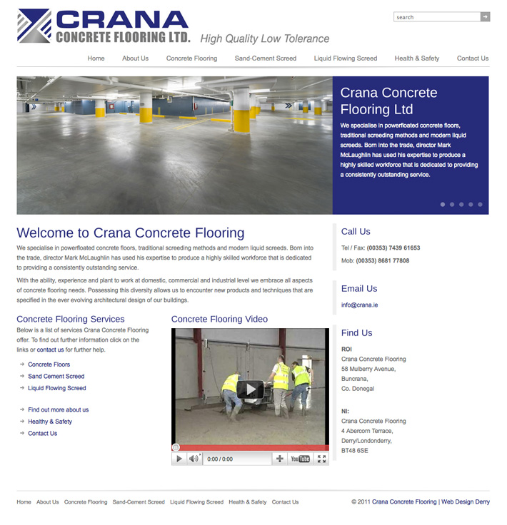 Crana Concrete Flooring | Crana | Website Design | Web Design Derry | Derry | Donegal Web Design | Marty McColgan | concrete flooring company