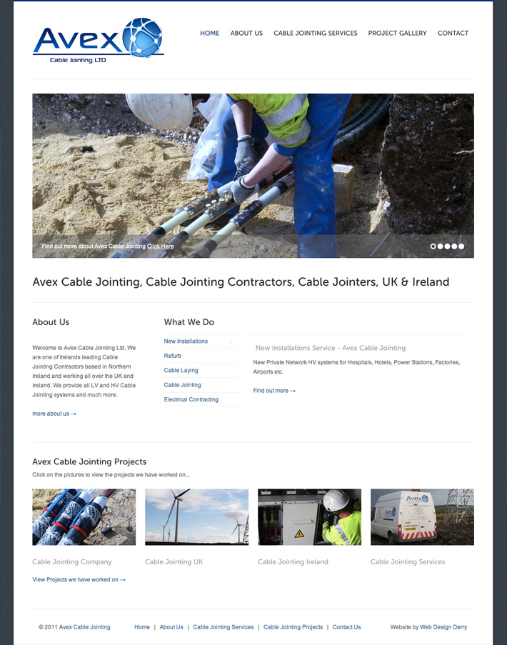 avex-cable-jointing-website-design | web design northern ireland | web design derry | web designer | derry | marty mccolgan