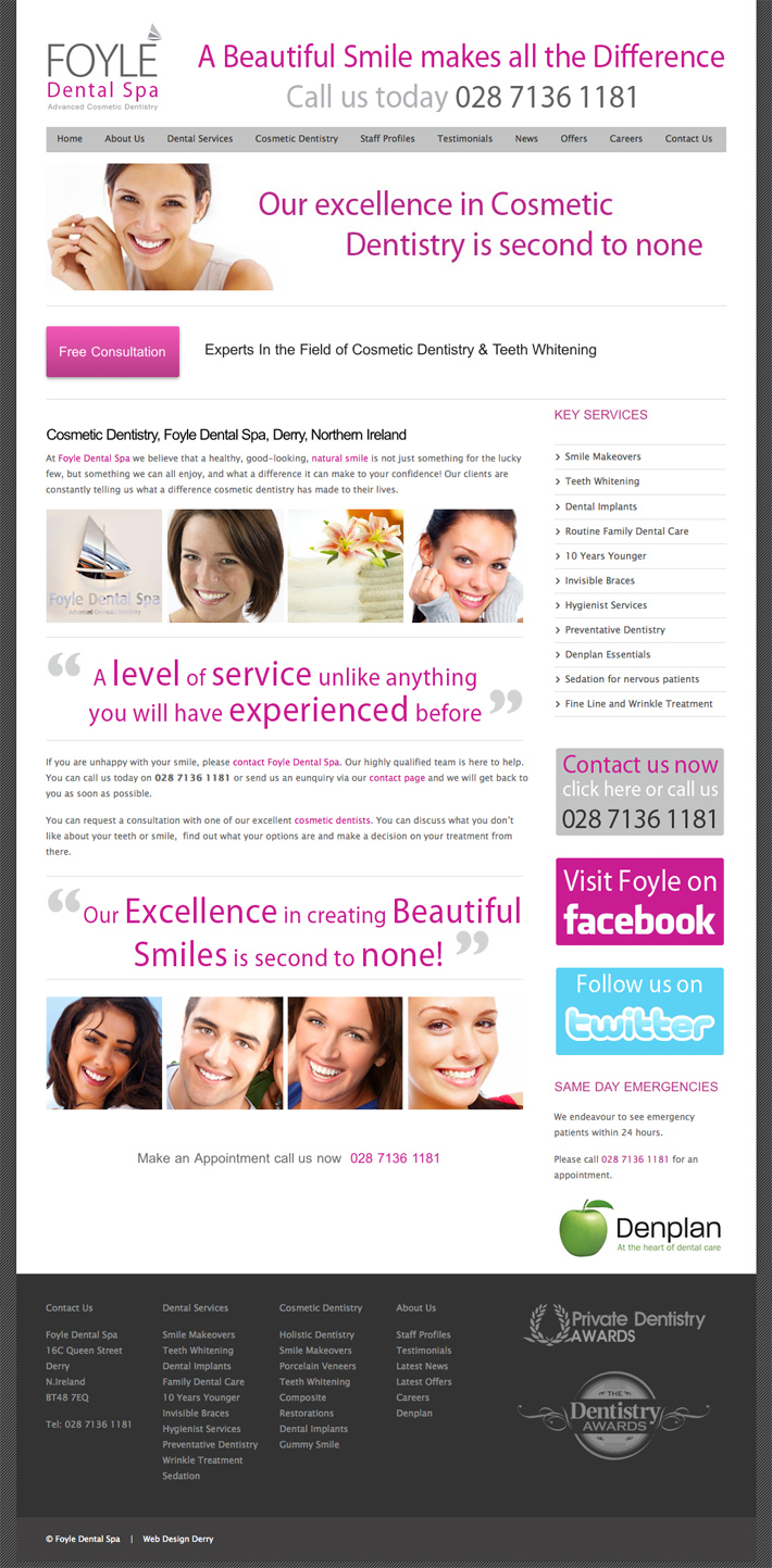 Foyle Dental Spa | Web Design Derry | Dental web design | design derry | web design londonderry | web design northern ireland