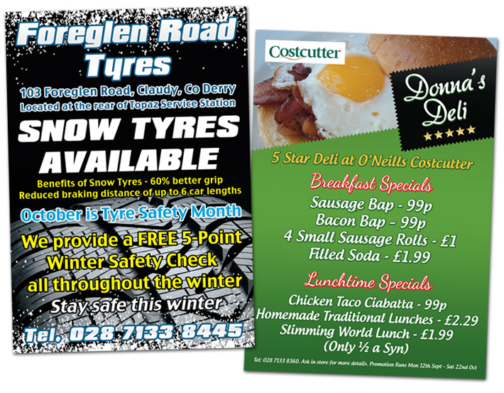 Foreglen Road Tyres, Costcutters Claudy | A4 Flyer design | A4 flyer Printing | graphic design derry