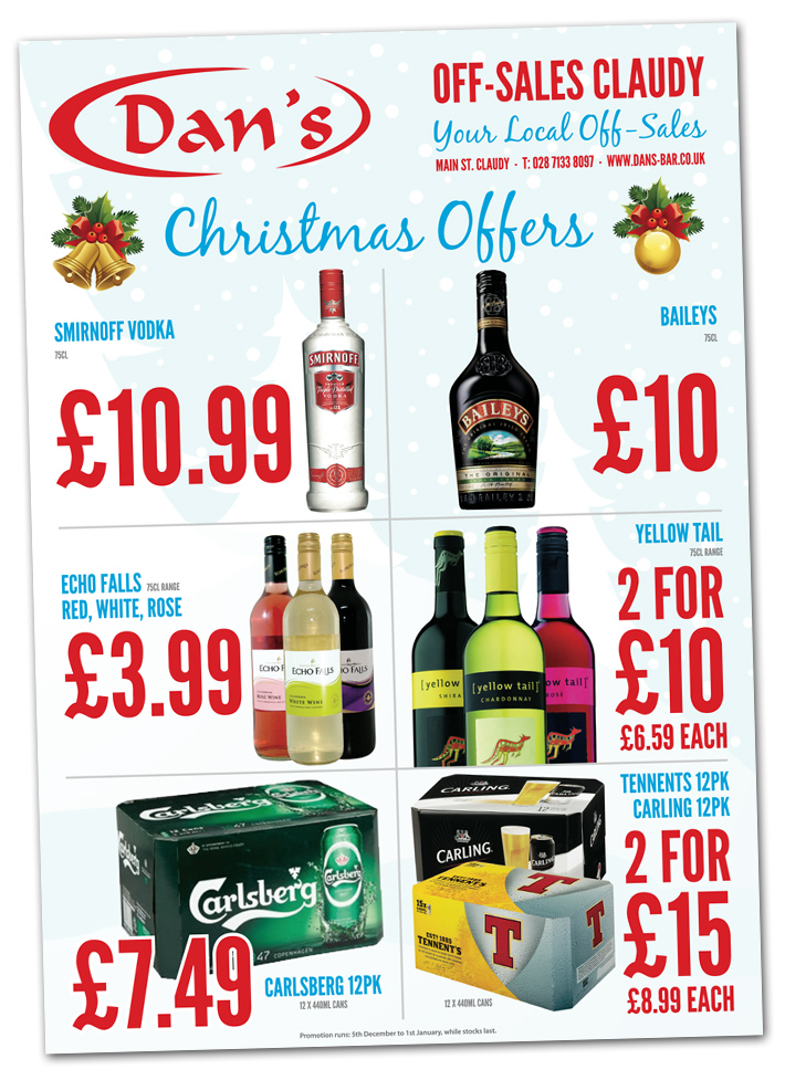 christmas off licence flyer design | flyer design derry | flyer design belfast | a4 folded a5 flyers
