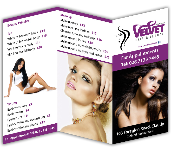 Velvet Hair &amp; Beauty, Claudy, Derry | 3 fold brochure design | 3 fold leaflet design | 3 fold flyer design | 3 fold leaflet printing | 3 fold brochure printing | 3 fold derry