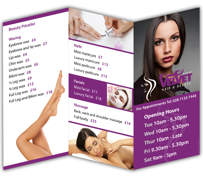 Velvet Hair &amp; Beauty, Claudy, Derry | 3 fold flyer brochure design | 3 fold leaflet design | 3 fold flyer design | 3 fold leaflet printing | 3 fold brochure printing derry belfast claudy