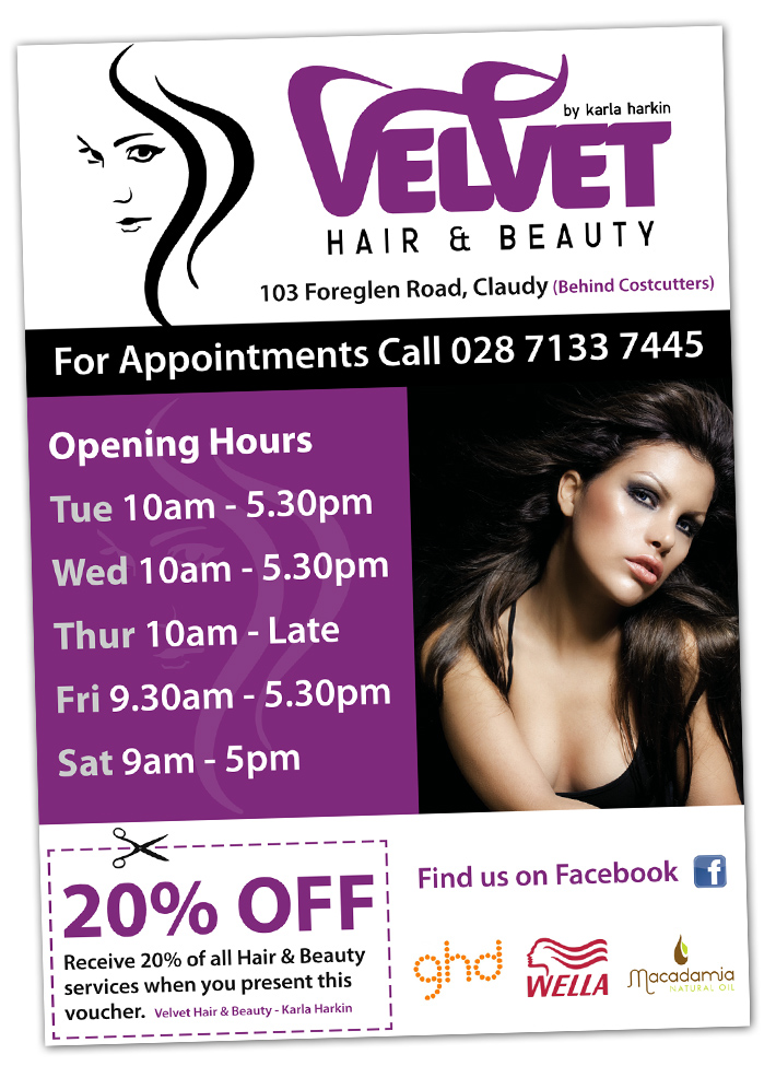 Velvet Hair &amp; Beauty Claudy, Derry | Hair Salon Flyer Design | Beauty Salon Flyer design | hairdressers flyer design | beauty salon flyer