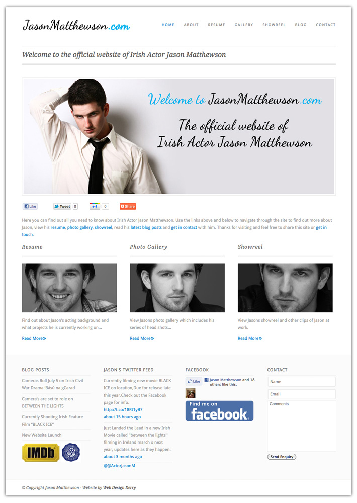website design donegal | jason matthewson | actor website design | actor web design | web design donegal