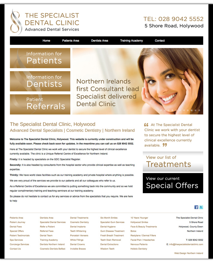 the specialist dental clinic web design northern ireland