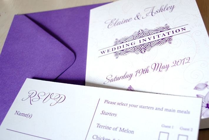 purple wedding invitations designs