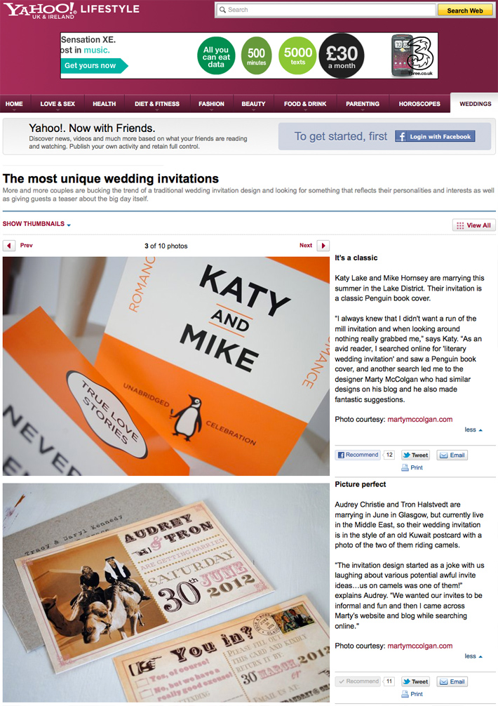 My invites featured on Yahoo Lifestyle Unique Wedding Invitations Article