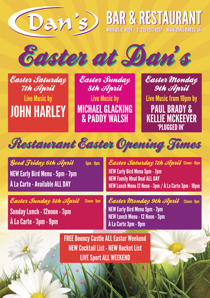 A1 poster design northern ireland entertainment poster | dans bar & restaurant claudy