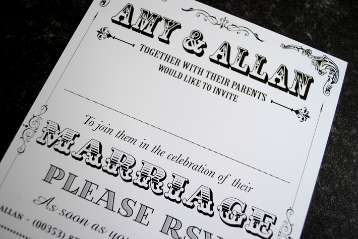 typeface wedding invitations