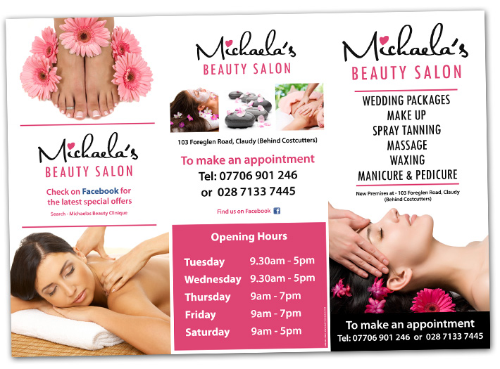 beauty salon brochure design | beauty salon brochures | northern ireland