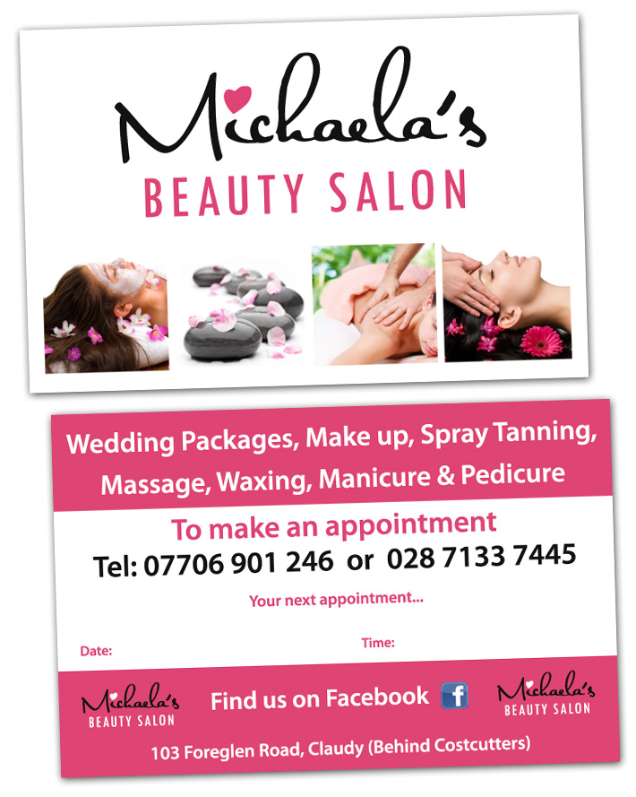 beauty salon business card design | business card design northern ireland
