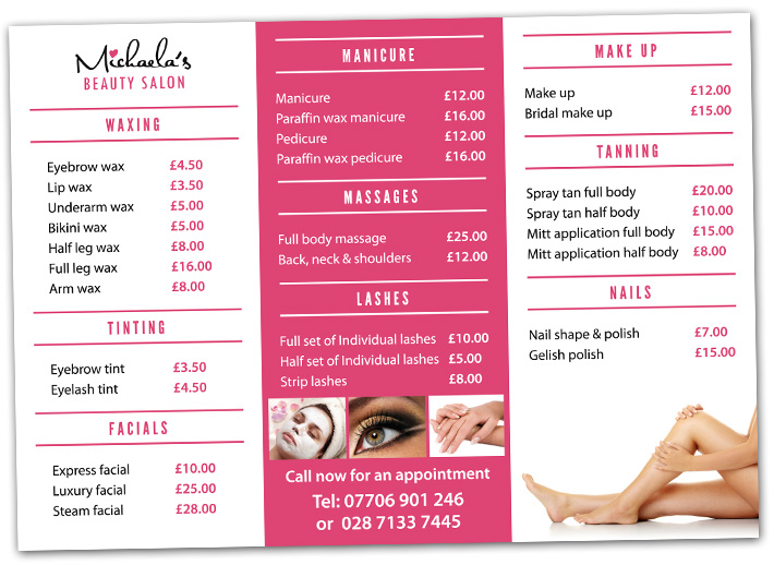 beauty salon tri fold brochure design | 3 fold brochure design | beauty salon brochures | northern ireland