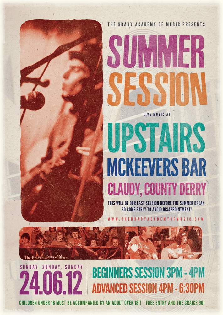 folk music poster design ireland | summer session poster