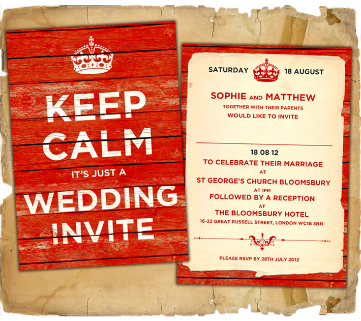 keep calm and carry on vintage style wedding invitations