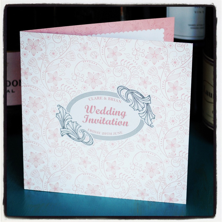 pink and white wedding invitation designs