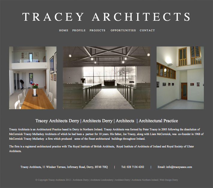 tracey architects website design derry northern ireland