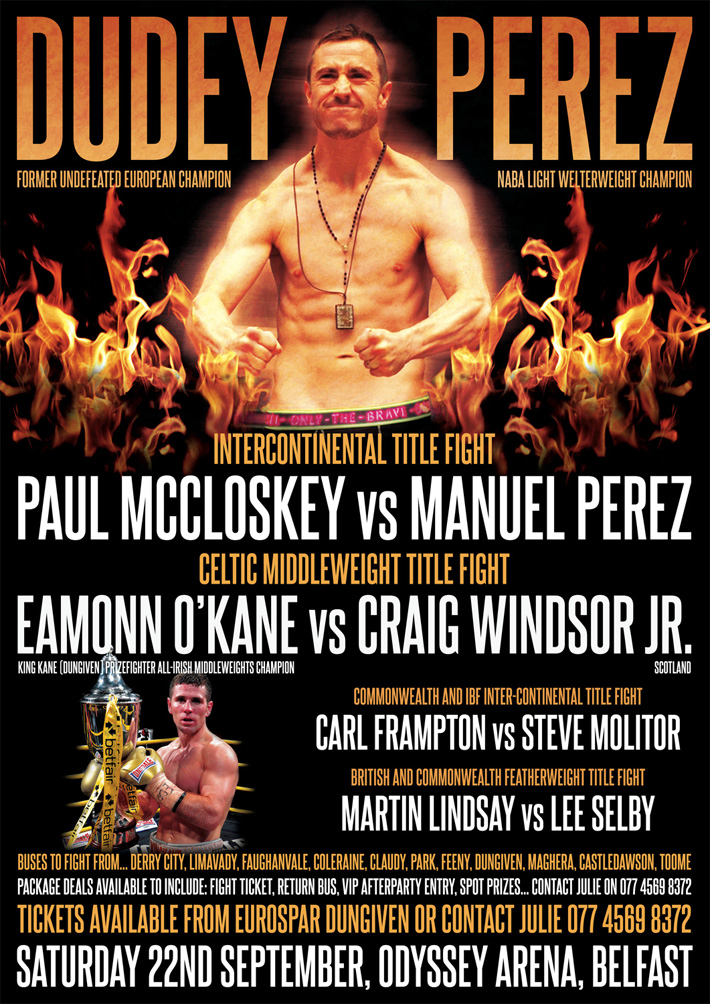 paul mccloskey v manuel perez boxing poster | dudey poster | classic boxing posters