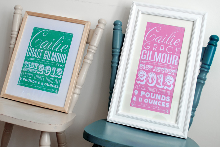 Personalised Baby Birth Announcement poster Prints | Personalised Baby Gifts