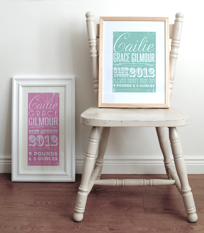 Personalised Baby Birth Prints | Personalised Baby Gifts