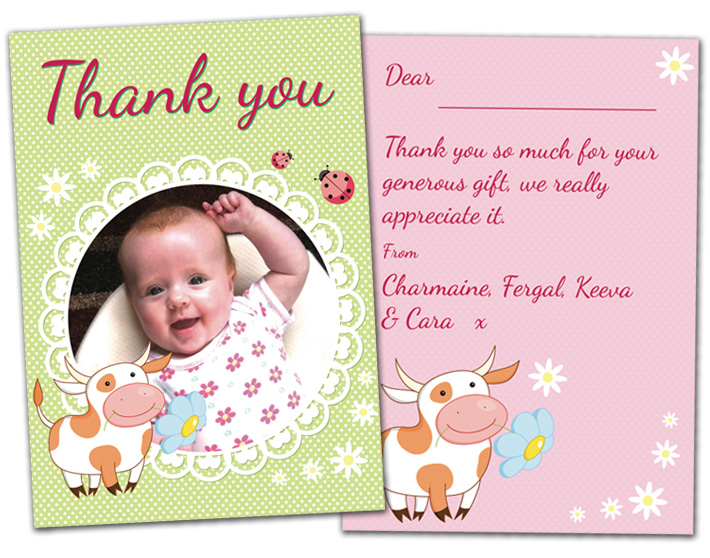 baby thank you cards northern ireland | Personalised Thank You Photo Cards