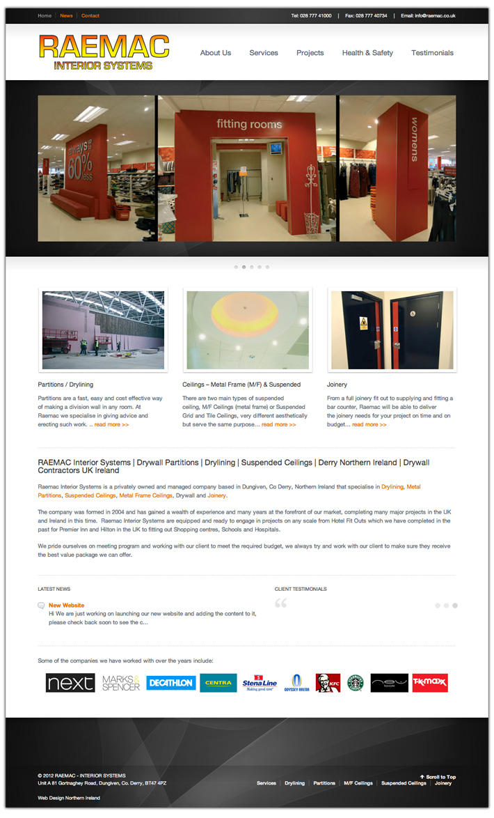 construction company website design northern ireland | RAEMAC Interior Systems