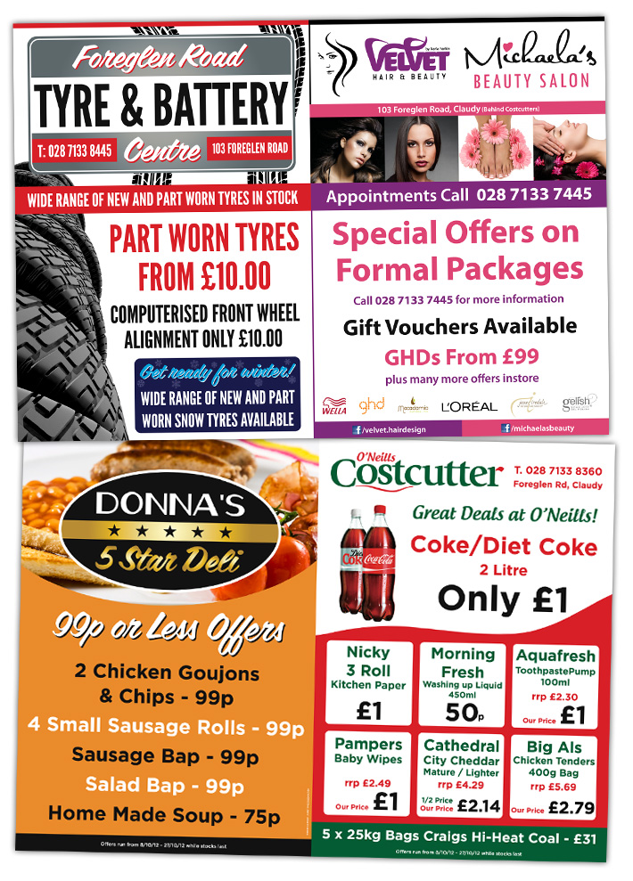 a4 a5 folded flyer design and print derry northern ireland