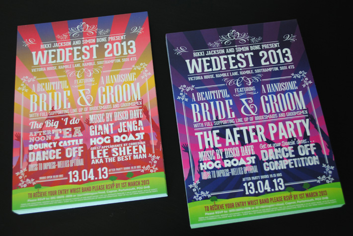 festival themed wedding invites