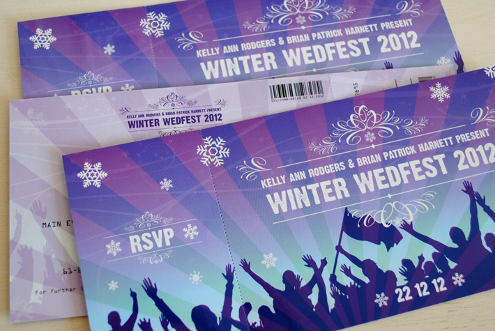 festival ticket wedding invites | wedfest | marty mccolgan