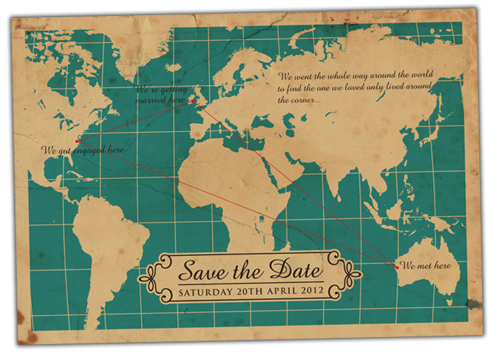 world map wedding invitations | save the dates