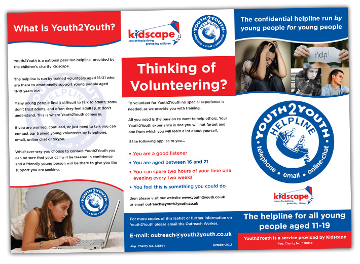 3 fold flyer design | youth2youth kidscape charity | martymccolgan