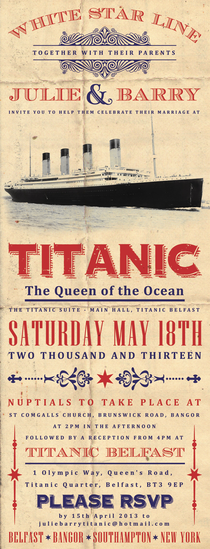 titanic themed wedding invitation | titanic belfast weddings