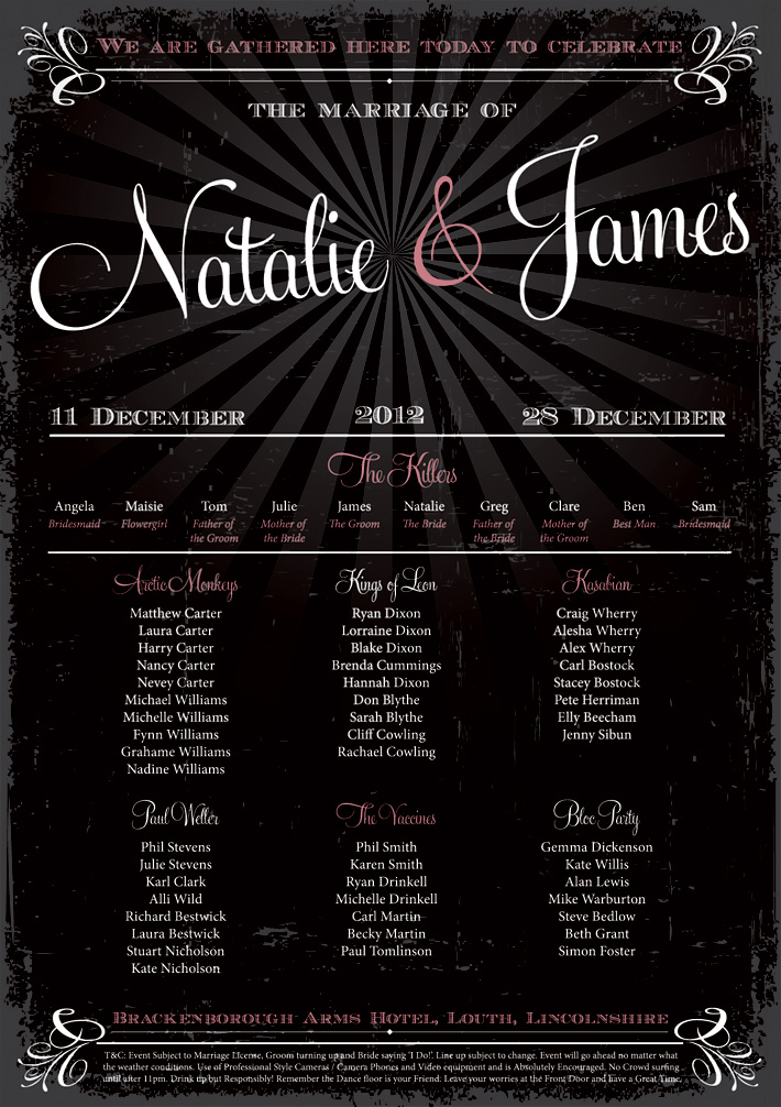 elegant vintage style festival poster wedding table plan