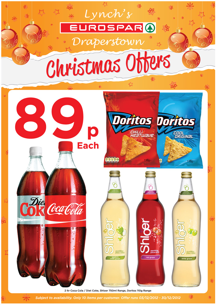 eurospar draperstown christmas flyer a4 design and print