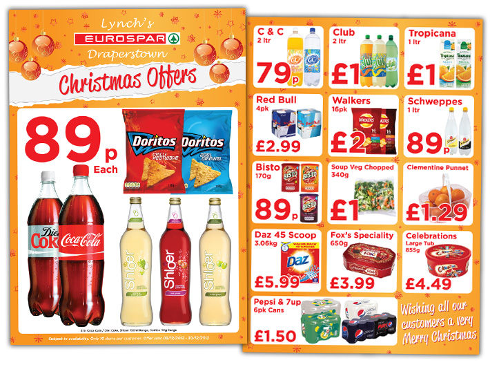 shop flyer design a4 print northern ireland eurospar