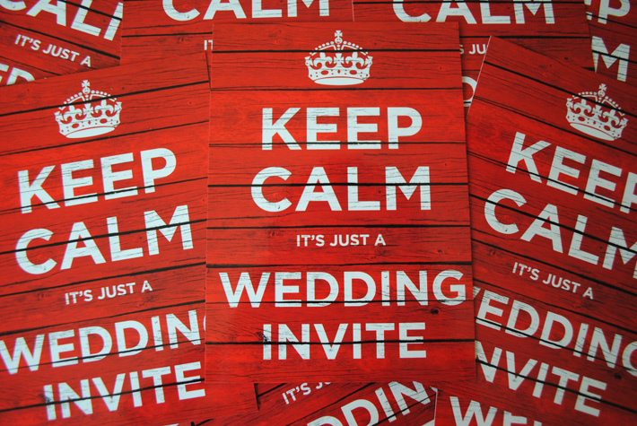 keep calm and carry on wedding invitations