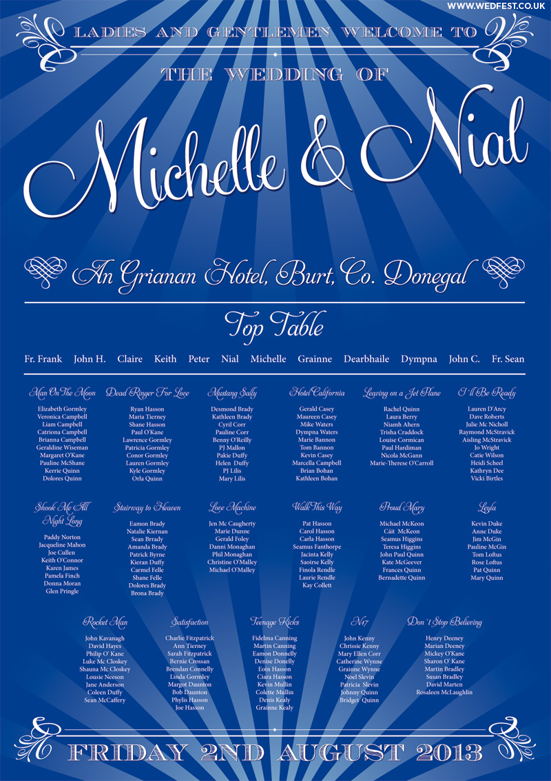 elegant shabby chic blue wedding table plan