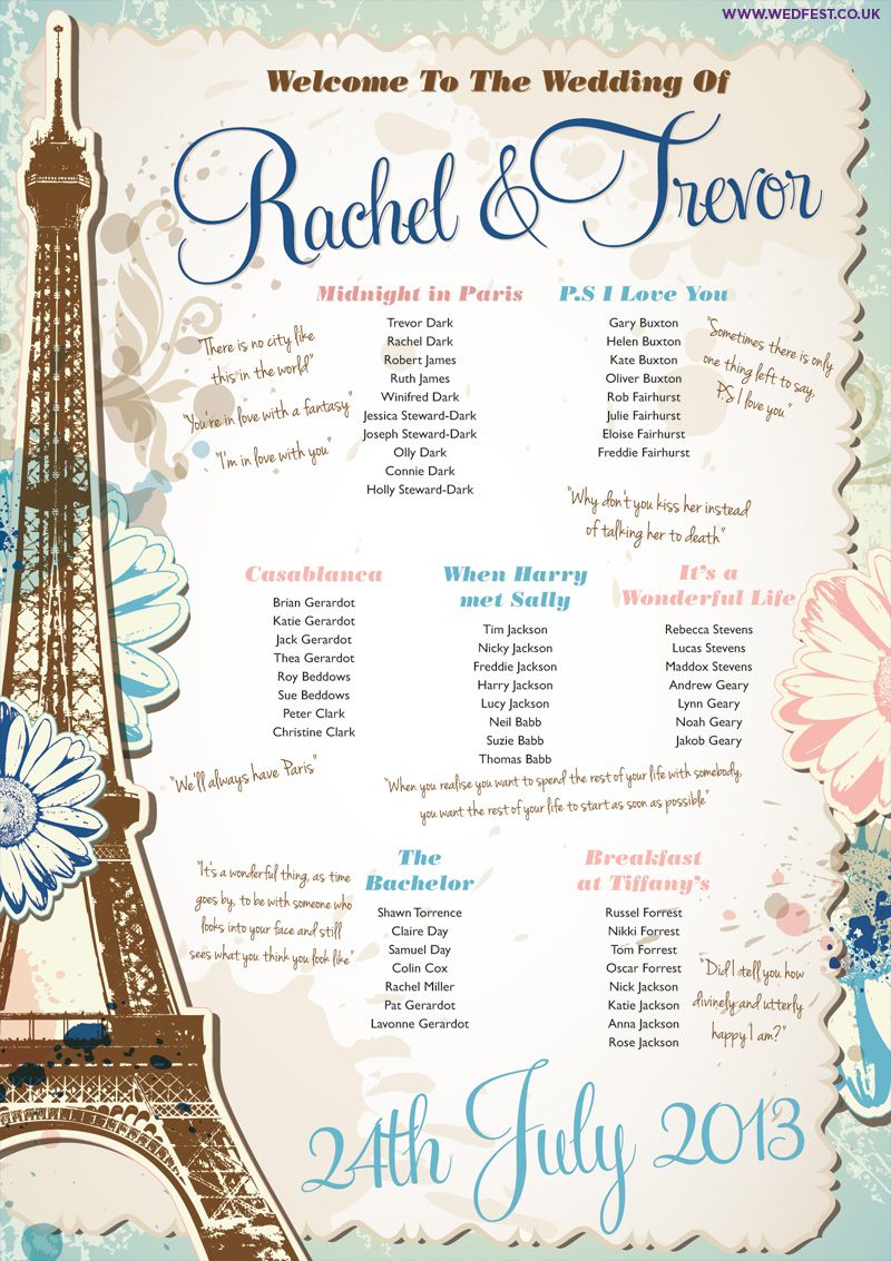 vintage chic paris theme wedding seating plan