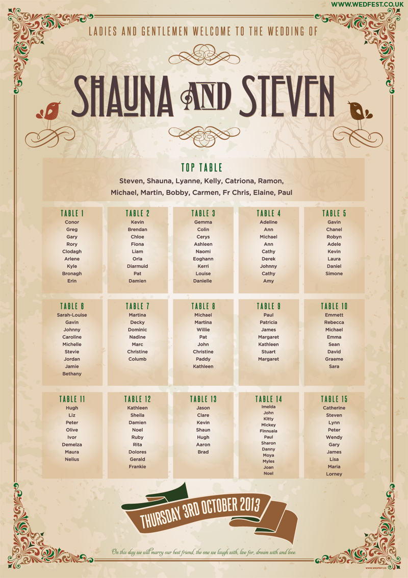 vintage shabby chic wedding seating plan