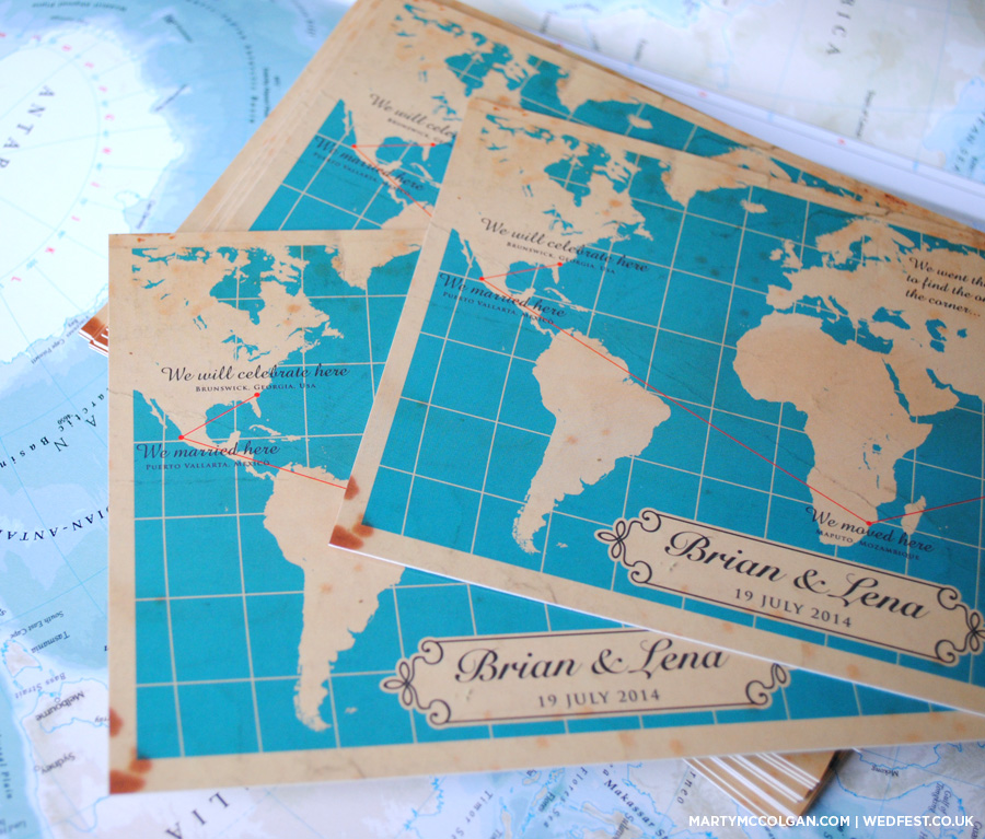 world map travel themed wedding invites