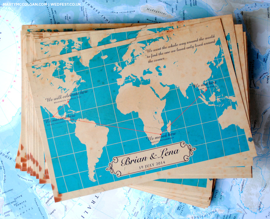 world map wedding invitations