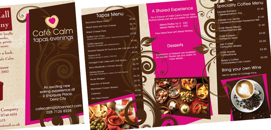 Restaurant Menu Design Derry Northern Ireland