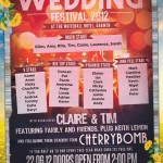 festival themed wedding table plan | festival style poster seating plan | wedding table plans