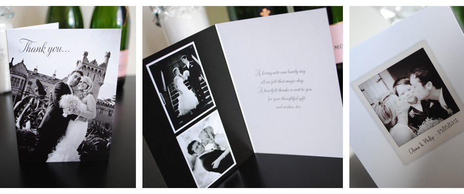 personalised black and white wedding thank you cards | marty mccolgan