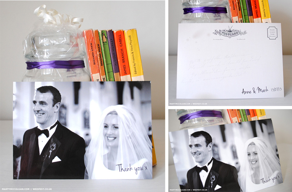 personalised wedding thank you postcards
