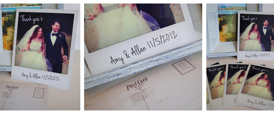 polaroid style wedding thank you cards