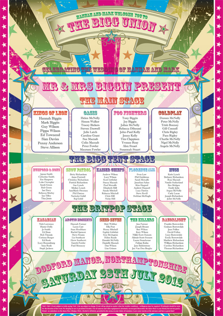 wedfest | festival themed seating plan wedding | festival table plans for weddings