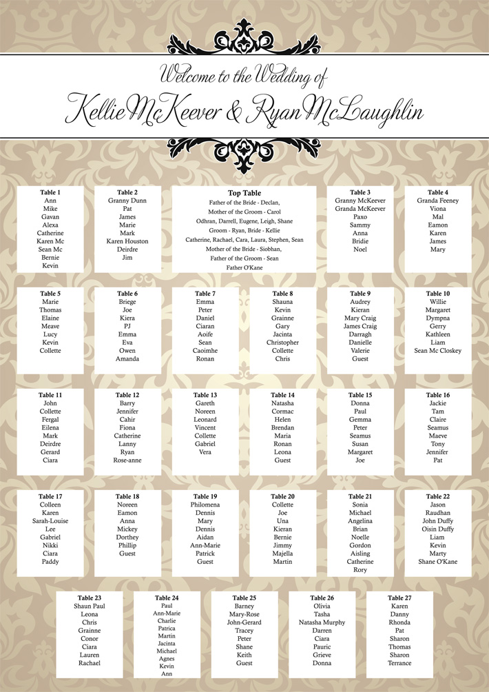 Festival Themed Wedding Table Plans | Festival Weddings